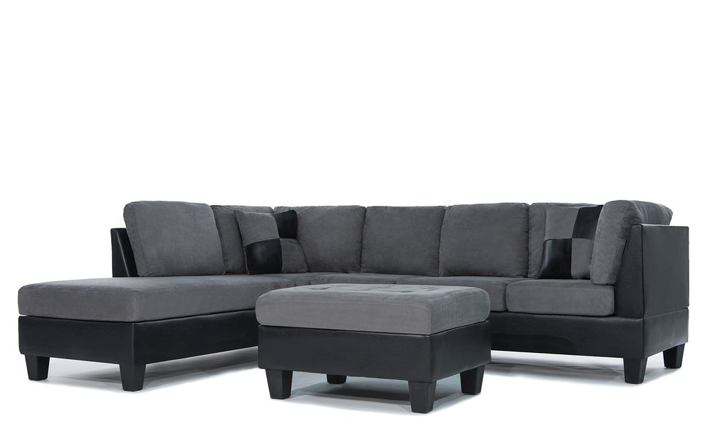 Koko Classic (3) Piece Microfiber and Faux Leather Sectional with Ottoman